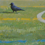 Crow on Ballfield by Andrew Denman