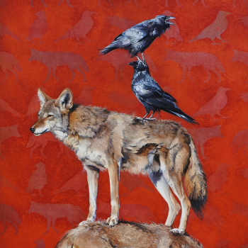 Coyote and Raven Totem by Andrew Denman