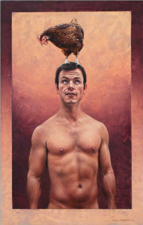 Stephen with Rhode Island Red Hen by Andrew Denman