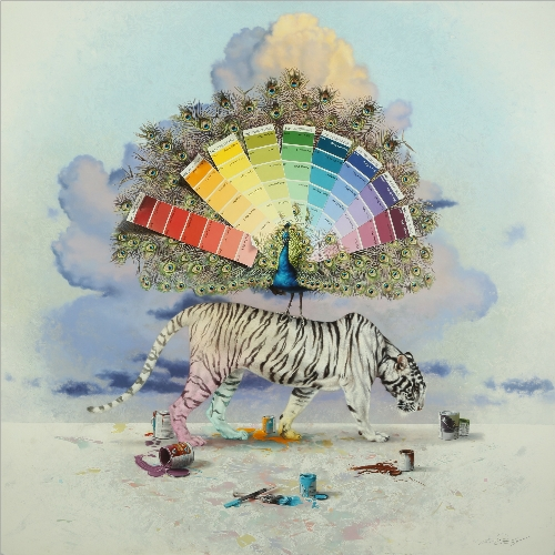 White Tiger with Peacock by Andrew Denman