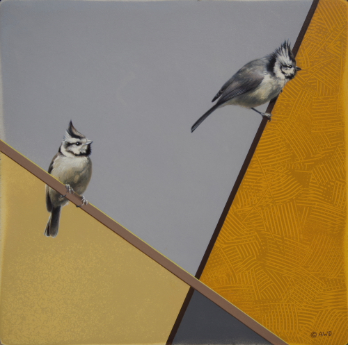 Bridled Titmice by Andrew Denman