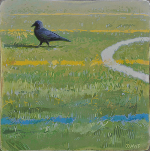Crow on Ballfield by Andrew Denman