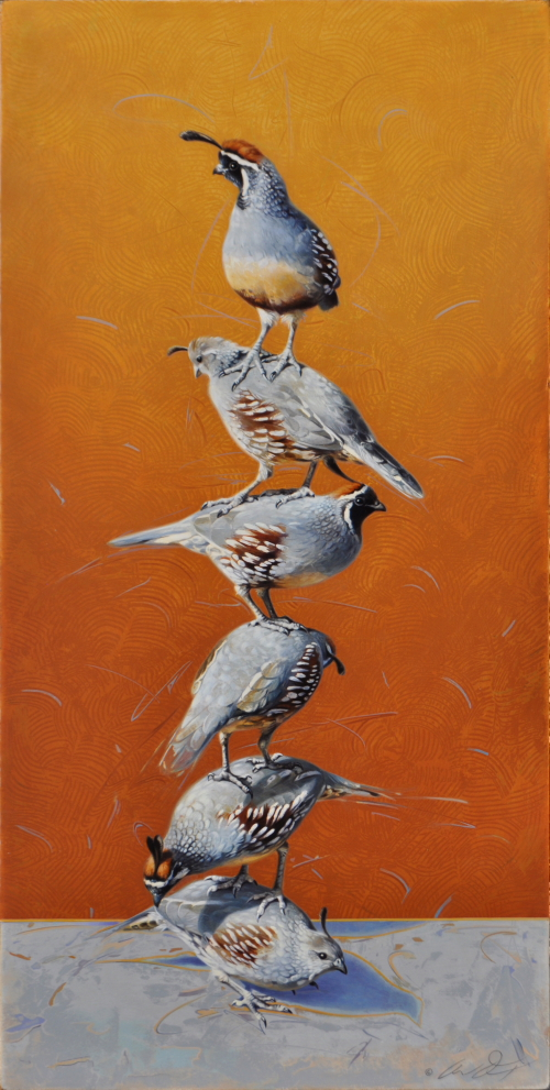 Totem of Gambel's Quail by Andrew Denman