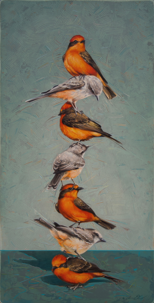 Vermilion Flycatcher Totem by Andrew Denman