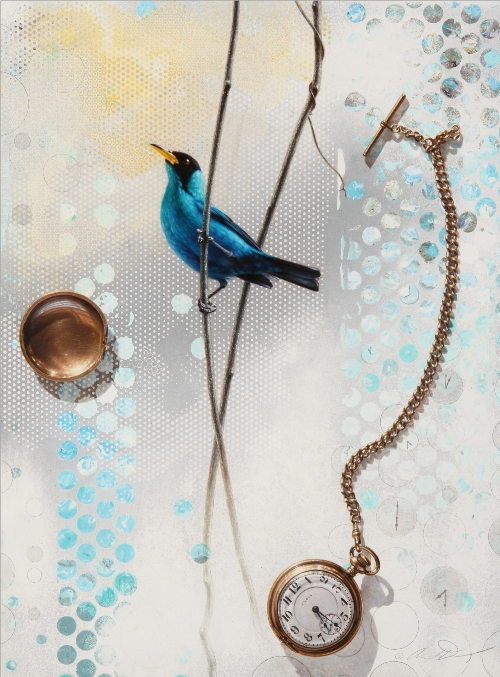 Green Honeycreeper with Pocket watch by Andrew Denman